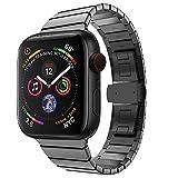 Holatee Correas de Reloj Correa de Pulsera para Apple Watch Series 4 44MM Hebilla de Mariposa de Acero Inoxidable Moda Correa de Muñeca Repuesto