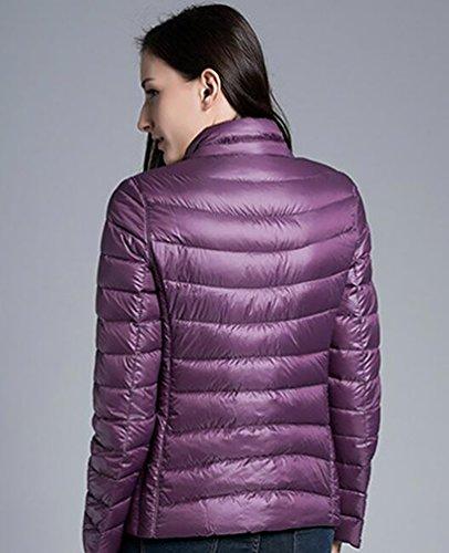 YOUJIA Damen Daunenjacke Reversibel Daunenmantel Leicht Warme Winter Jacken Violett Pink