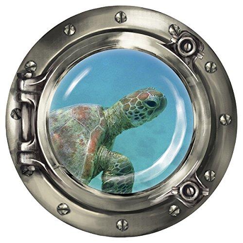 """Wandkings Wandsticker Bullauge \""""Unterwasserwelt - Baby Schildkröte unter Wasser\"""" - 30 x 30 cm SILBER"""