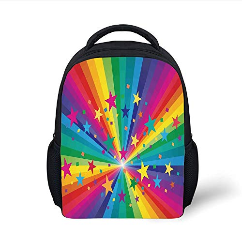 Kids School Backpack Abstract Home Decor,Abstract Rainbow and Stars Confetti Rays Striped Celebrating Happy Times, Plain Bookbag Travel Daypack