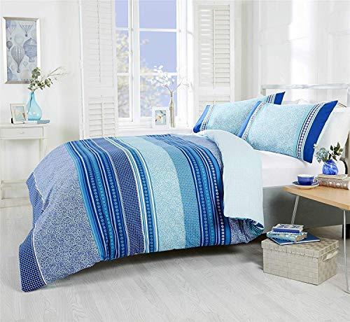 Türkisch Gemustert Geometrisch Gestreift Blaugrün Baumwollmischung Bettbezug