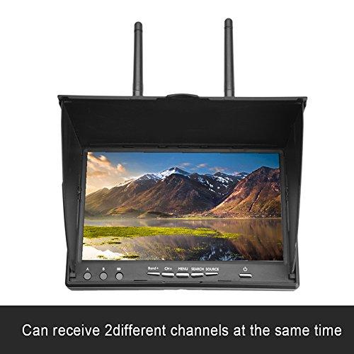 Monitor del receptor FPV, 5.8GHz 40 canales Monitor LCD del monitor de la pantalla de visualización de 7 pulgadas para FPV Drone Quadcopter con receptor inalámbrico