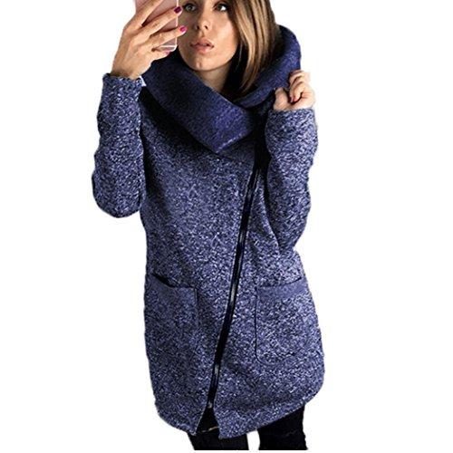 Cappotto Donna Invernali , Vovotrade Felpa casual lunga con chiusura a zip Outwear Tops Blu