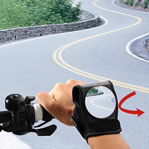 Antifire Wrist Mirror, Riding Bike Bicycle Wristband Rear Vision Mirror Cycling Mirrors Breathable Mesh Bike Mirrors Reflector on Arm BackEye for Cyclists Mountain Road Bike Cycling Accessories