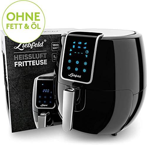 Liebfeld - Heißluftfritteuse Set [1800W] mit 5,3L Volumen inkl. Brotkorb I Airfryer XXL ohne Fett & Öl I Heissluft Fritteusen Hot Air Fryer (XXL)