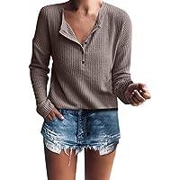 ¡Gran promoción!Blusas de Mujer Rovinci Casual Manga Larga Sólido Henley  Rib Camisas de d6449cb5f42fe