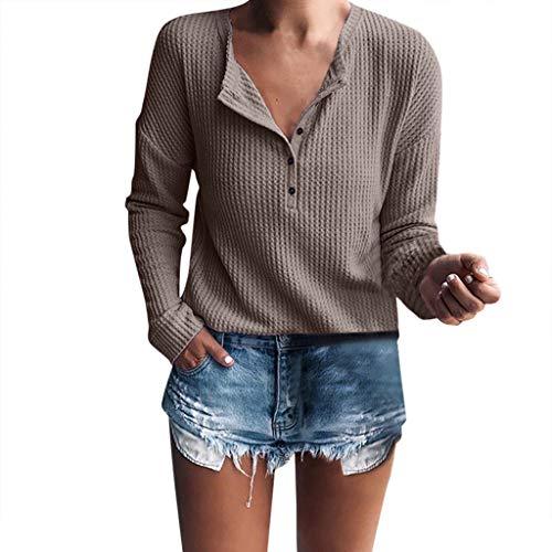 SANFASHION Damen Pulli Langarm T-Shirt V-Ausschnitt Casual Langarm Henley Pullover Sweatshirt Oberteil Tops Rippstrickbluse mit Knopfleiste Tunika