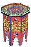 Marokkanischer Tisch Beistelltisch aus Holz Kalif Rot ø 42cm rund   Orientalischer runder Hocker Blumenhocker klein für Ihre Wohnzimmer oder Küche   Orientalische Beistelltische als Dekoration