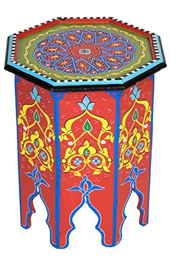 Marokkanischer Tisch Beistelltisch aus Holz Kalif Rot ø 42cm rund   Orientalischer runder Hocker...