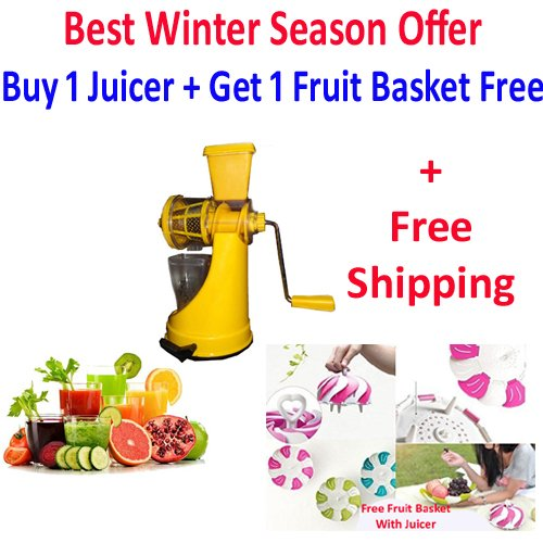 A To Z Sales (Saffron) Fruit & Vegetable Juicer Mixer Grinder with Steel Handle, Yellow + Fruit Basket + Free Shipping - Special For Winter Season