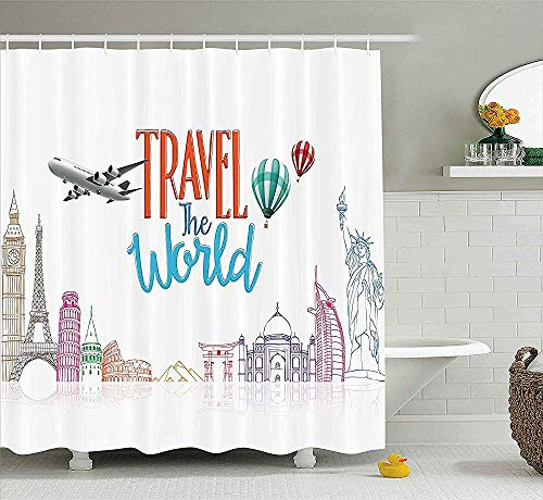Zitat Dekor Duschvorhang, Reisen die Welt Schriftzug mit rund um die Welt Sehenswürdigkeiten Luftballons Kunstwerk Bild, Stoff Badezimmer Dekor Set mit Haken, 70 Zoll, Multicolor