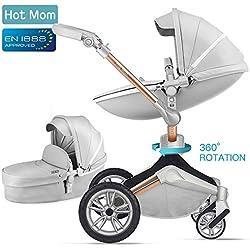 Hot Mom Silla de paseo Reversibilidad rotación multifuncional de 360 grados con buggy asiento y capazo 2018 Nueva actualización - F023 Gris