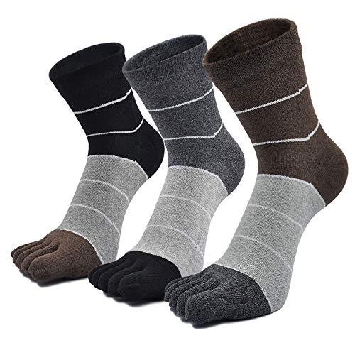 PUTUO Calcetines Dedos Hombres Calcetines de Deportes de Algodón, Hombres Cinco Calcetines del dedo del pie, 5 pares (Rayas -3 pares)