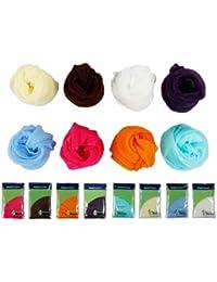 Bundle Monster - Lot de foulards fantaisies - polyester - femme - couleurs unies variées - 8 pièces
