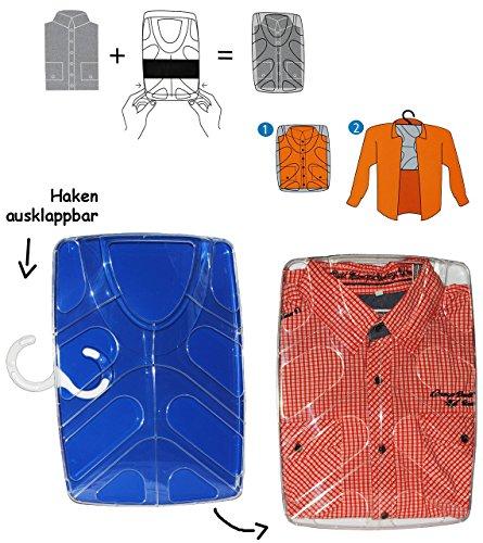 Hemdenbox - blau - aus Kunststoff - kein Hemden knittern mehr - Reisebox - Gepäck - Reisen / Geschäftsreise - Tasche - Box Kiste incl. Kleiderbügel - Hemdentasche - Herren & Damen - Shirtbox - Flugreise / Urlaub - Anzüge / Anzug