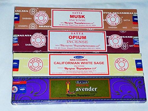 Satya Nag Champa Räucherstäbchen–Californian weißer Salbei, natur Lavendel, Opium, Moschus mit gratis Union Jack Untersetzer von Sterling effectz (SE5) Lavendel-salbei