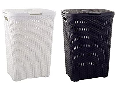 CURVER 60 ltr Rattan Style laundry hamper, 3 colours available by Curver