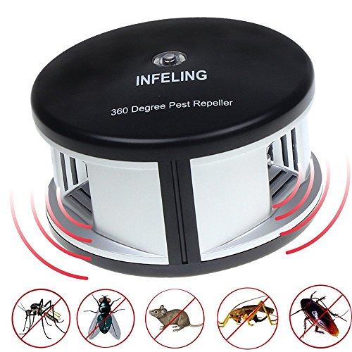 INFELING 360 Grad Ultraschall-Schädlingsabwehr, Wechselnde Frequenzwellen, Mückenschutz mit Großer Reichweite, Schädlingsbekämpfung für Kakerlaken, Nagetiere, Ameisen, Eichhörnchen, Ratten, Spinnen, Chemikalien-frei, Umweltfreundlich, Ungefährlich für Mensch und Haustiere