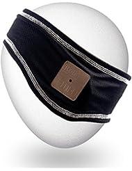 Qshell lavable extra delgada diadema inalámbrica Bluetooth con Removalble auriculares manos libres auricular altavoces estéreo de micrófono manos libres para el entrenamiento al aire libre Deportes Gym Fitness Correr Trotar Caminar - Negro