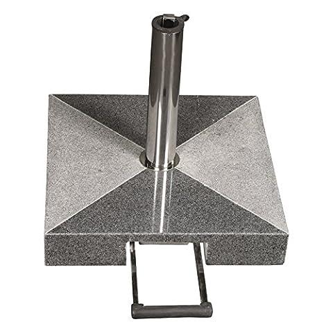 Profiline 50 kg Granit Schirmständer mit Rollen und Trolleyfunktion, quadratisch,