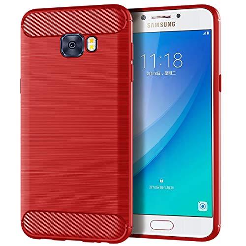 Banath Fall für Samsung Galaxy C5 Pro, dünner Anti-Scratch-Fall Vollständiger Schutz für Samsung Galaxy C5 Pro - Rot