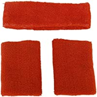 TOOGOO(R) Conjunto de munequeras y diadema contra el sudor, unisex - Naranja