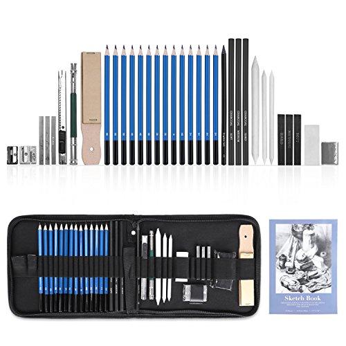 GHB 36 Stück Bleistifte Skizzierstifte Set Skizzieren und Zeichnen Professionelle Art Set mit Graphitkohlestifte Sticks Werkzeuge und Kit Bag MEHRWEG