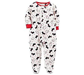 40068ddf6fc6 carter s Baby Girls  12M-4T One Piece Scotty Dog Fleece Pajamas 12 ...