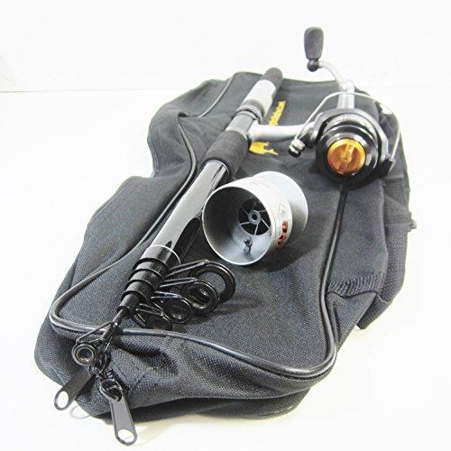 Teleskop-pier (FTD Hochwertiges Sea & grob Allrounder, Teleskop-Stange (cw & 4 x 150 g) Kugellager, feste Spule Spule & FTD Schultertasche Set (zum Sea Light & grob Verdrängungspraktiken Fischerei))