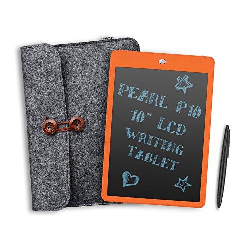 """Parblo Pearl P10 10 """"LCD Schreiben Tablette Zeichentafel Papierloser Notizblock mit Eraser-Verschluss + Wolle Liner Bag (Orange)"""