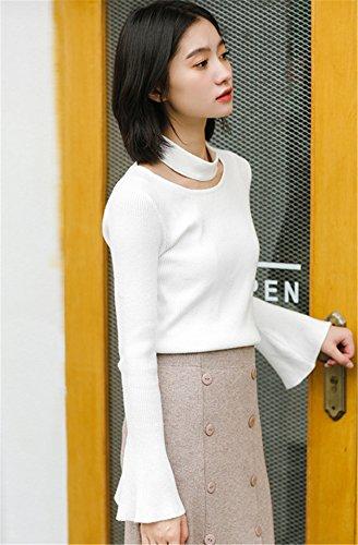 JOTHIN Maniche a Tromba Pullover Sciarpa Strette Maglieria Elasticizzati Casual Sweater Unicolor Basic Maglioni Donna Bianco