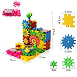 Enlarge toy image: PovKeever Educational Gear Building Blocks Sets Toy Colorful Shapes Puzzle Electric Moving brick Interlocking Learning Blocks Motorized Spinning Gears Toys for Children Kids over 3 Years Old ,81 PCS