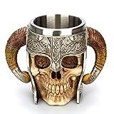 ZUEN Edelstahl-Schädel-Becher, Thermos-Becher mit Griff starker Viking Ram gehörnte Grube Lord Warrior Cup-Halloween-Bar-Drink-Geschenk