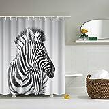 GWELL Tier Wasserdichter Duschvorhang Anti-Schimmel inkl. 12 Duschvorhangringe für Badezimmer 180x200cm Zebra