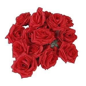Pixnor 20pcs artificiale curvante Brim Rose fiore mestiere casa decorazione di nozze (rosso)
