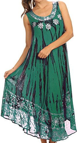 Sakkas 15009 - Alexis gesticktes langes ärmelloses BlumenCaftan Kleid/Cover Up - Sea Green - OS