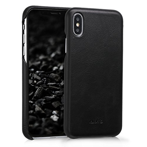 kalibri-Echtleder-Backcover-Hlle-fr-Apple-iPhone-X-Leder-Case-Cover-Schutzhlle-in-Schwarz