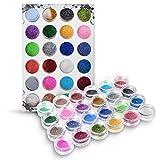 Biutee, smalto glitter per unghie in 24colori, con effetto 3D, per lucidare e decorare le unghie con una polvere brillante