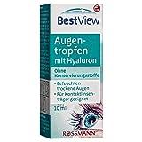 Best View Augentropfen mit Hyaluron 10 ml ohne Konservierungsstoffe, befeuchten trockene Augen, für Kontaktlinsenträger geeignet