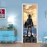 Autocollant De Porte Auto-Adhésif 3D Porte Colle Jeu Zelda Légende Photo Stickers Décoration De La Maison Papier Salon Impression Salle Porte Murale 77X200Cm