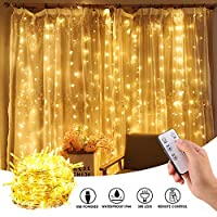 mimoday 300 LED 3M x 3M Window Curtain String Light USB with Remote Control, LED Fairy Curtain Lights for Wedding Party Home Garden Bedroom Outdoor Indoor Wall Christmas Decorations, Warm White