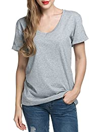 571dafc5a72044 Parabler Damen V-Ausschnitt T-Shirt Sommershirt Bluse Lang Kurzarm  Einfarbig Tops Oberteil S