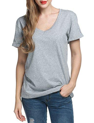 Kurzarm Bluse Damen Vausschnitt Sommershirt Tshirt Tops Parabler FUXYc4RqY