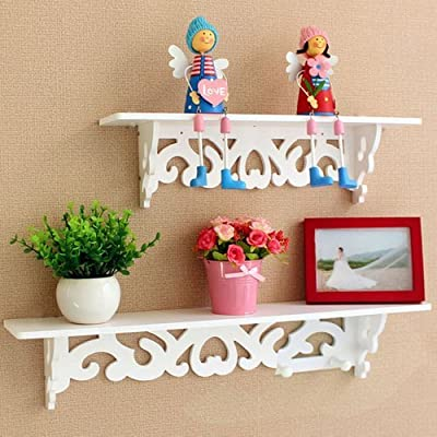 Popamazing Shabby Chic Style Floating Wall Shelves Bookshelf White Wall Mounted Decorative Display Wall Shelf Storage Rack