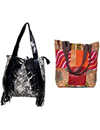 Indiweaves Combo Pack Of 1 Cotton Kantha Tote Bag And 1 Cotton Shopper Bag (Pack Of 2) 82100-133149-IW-P2
