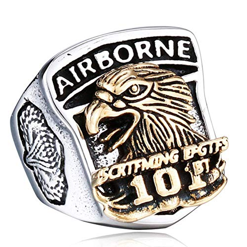 YEBENI Herren Silber Gold Edelstahl Weinlese US Armee Marine Corps Militär Eagle Ring - Herren-marine-ring
