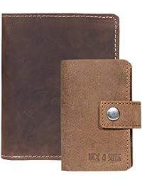 Hide & Sleek Men's Brown Hunter Leather Wallet & Card Holder. Pack Of 2