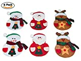 CrazySell Titolare 6 Pz Babbo Natale felice da tavola Argenteria decorazioni di Natale del vestito Dinner Party Tasche Decor set di coltelli e Borse Forcella (Style D (3Pcs))