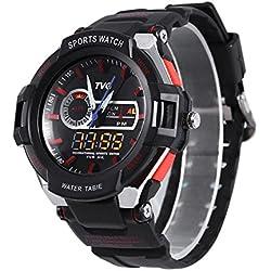 Leopard Shop TVG 801 Men Dual Movt Quartz Digital Watch Water Resistance Chronograph Luminous LED Display Wristwatch Red
