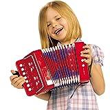 My Music World Akkordeon mit Gurt, mit 14 Tönen, 18 x 10 x 17 cm: Kinder Knopfakkordeon Ziehharmonika Hand Harmonika Spielzeug